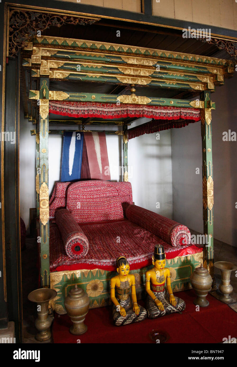 Indonesia; Java; Yogyakarta; traditional javanese home interior, bedroom, - Stock Image