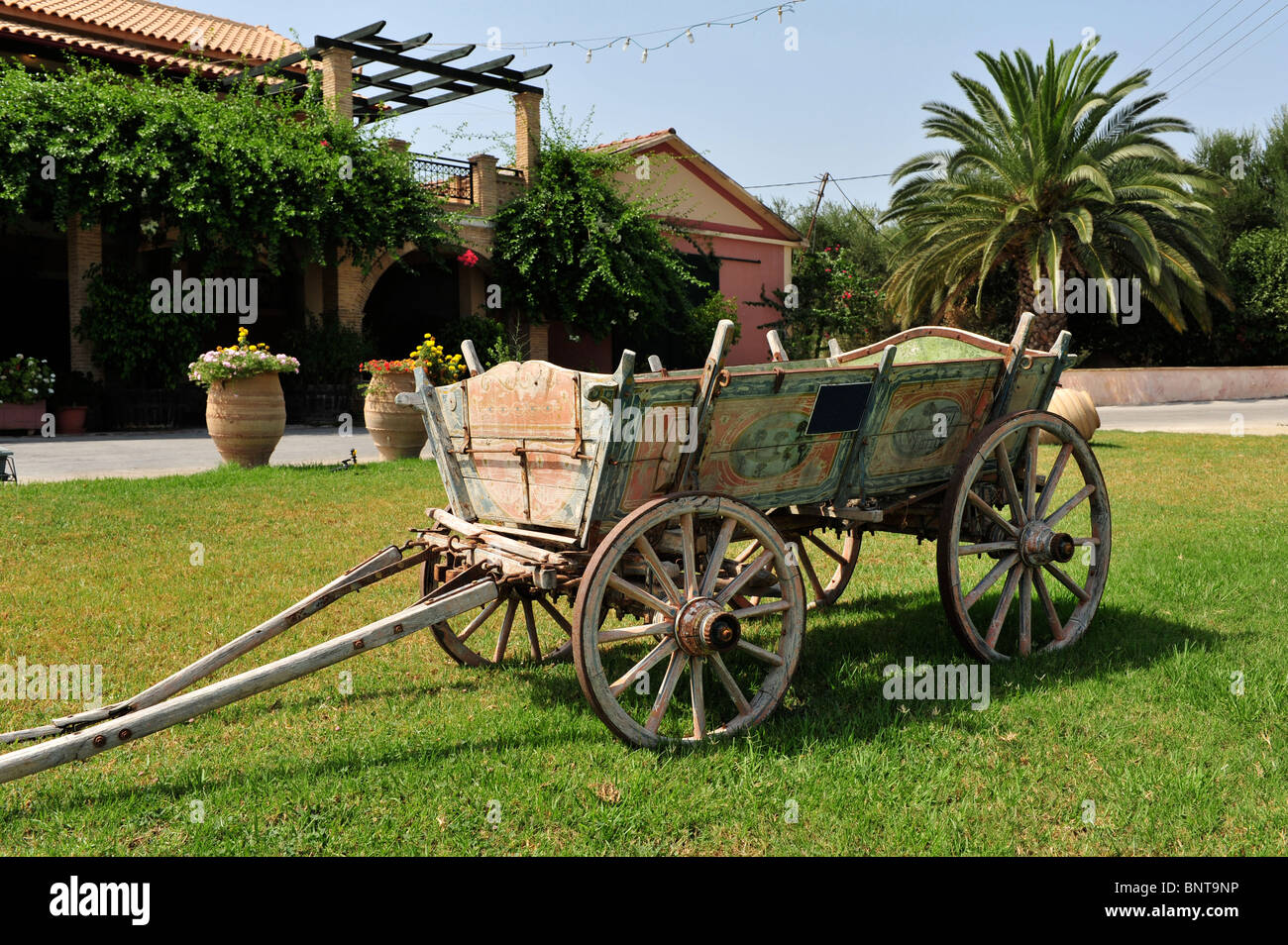 Image of an antique cart that was used for the transportation of the freshly picked grapes from the field then delivered Stock Photo