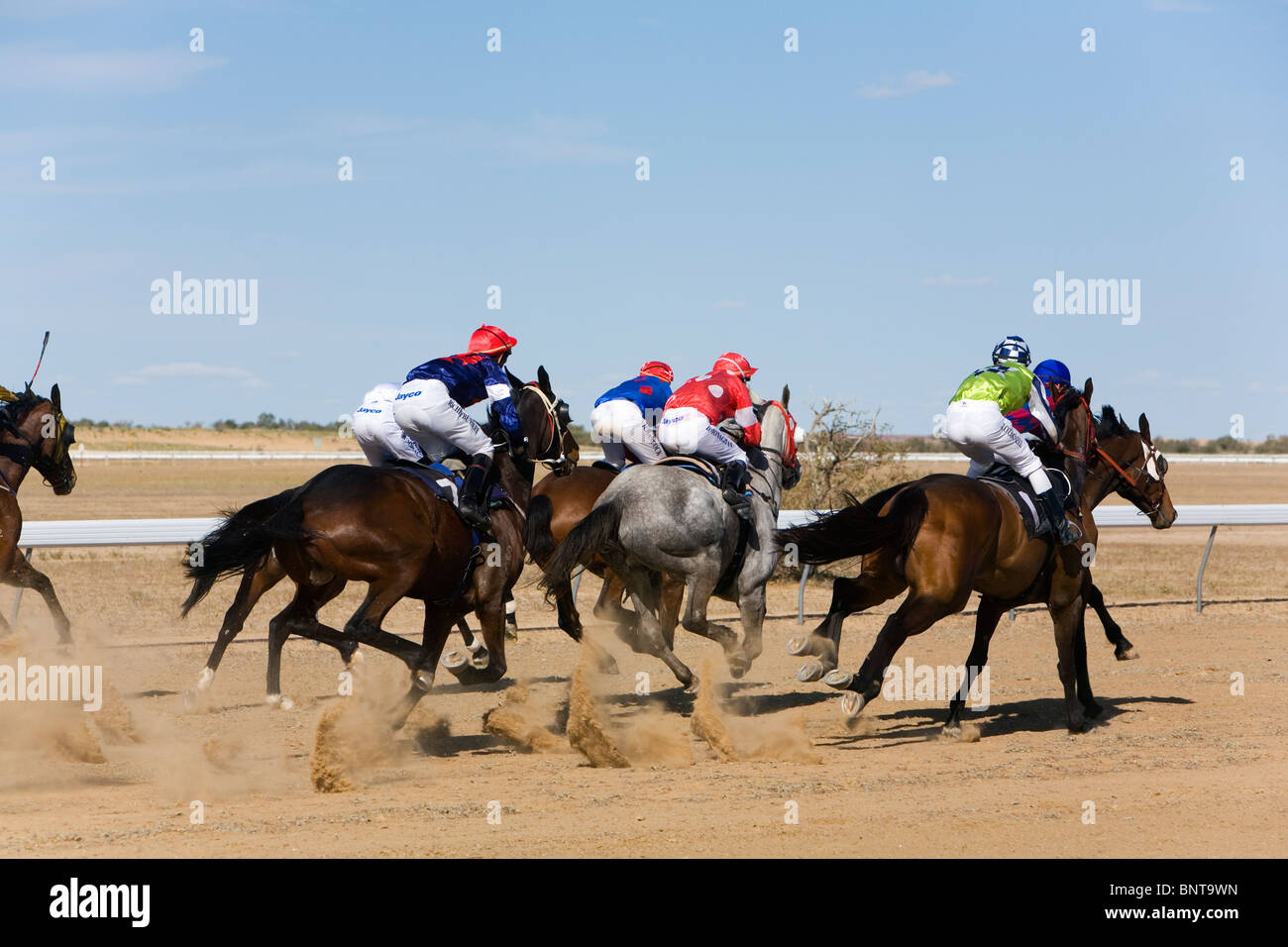 Horse racing in the outback at the Birdsville Cup Races. - Stock Image