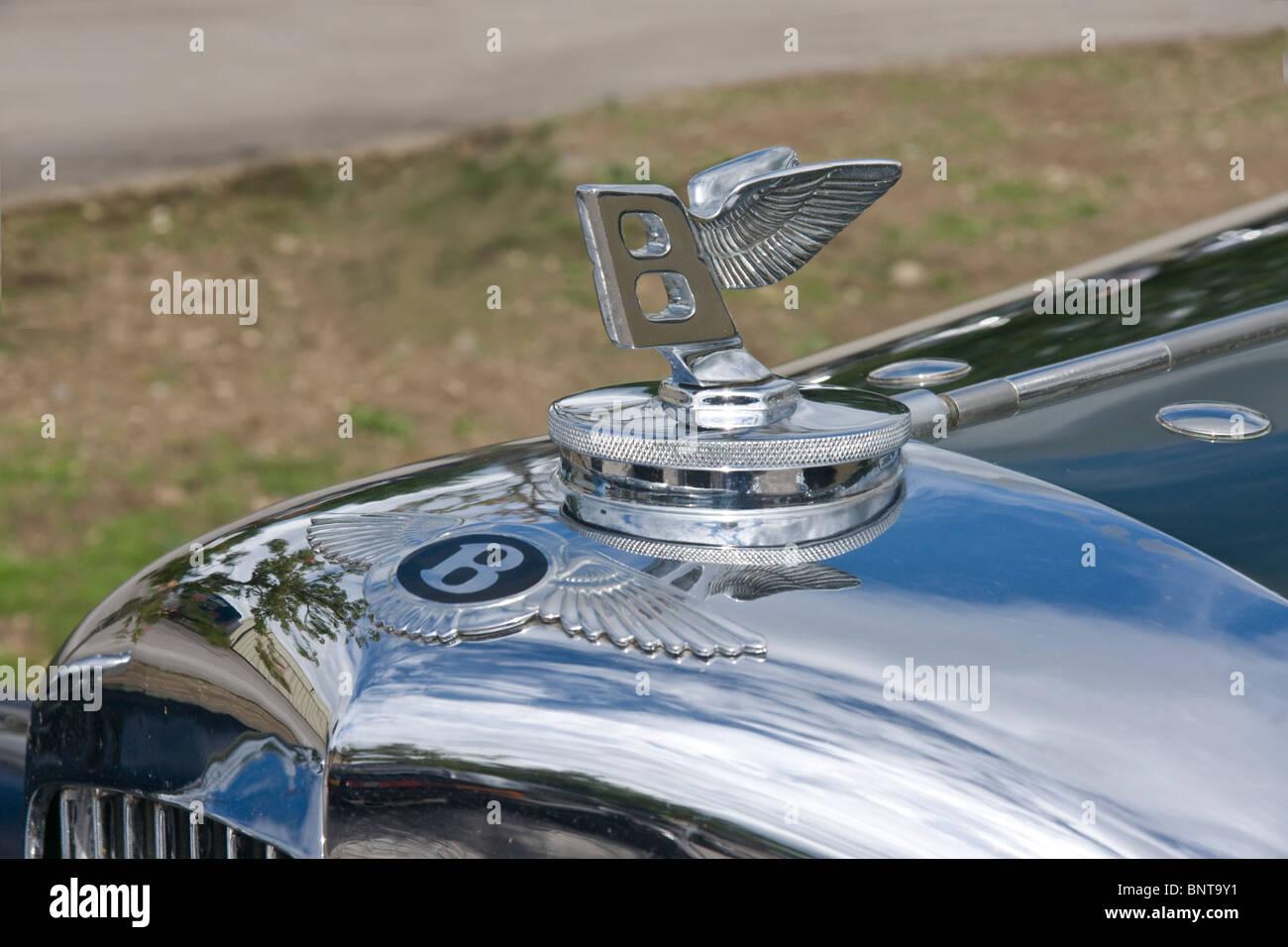 Radiator badge and emblem on a 1936 Bentley motor car. - Stock Image