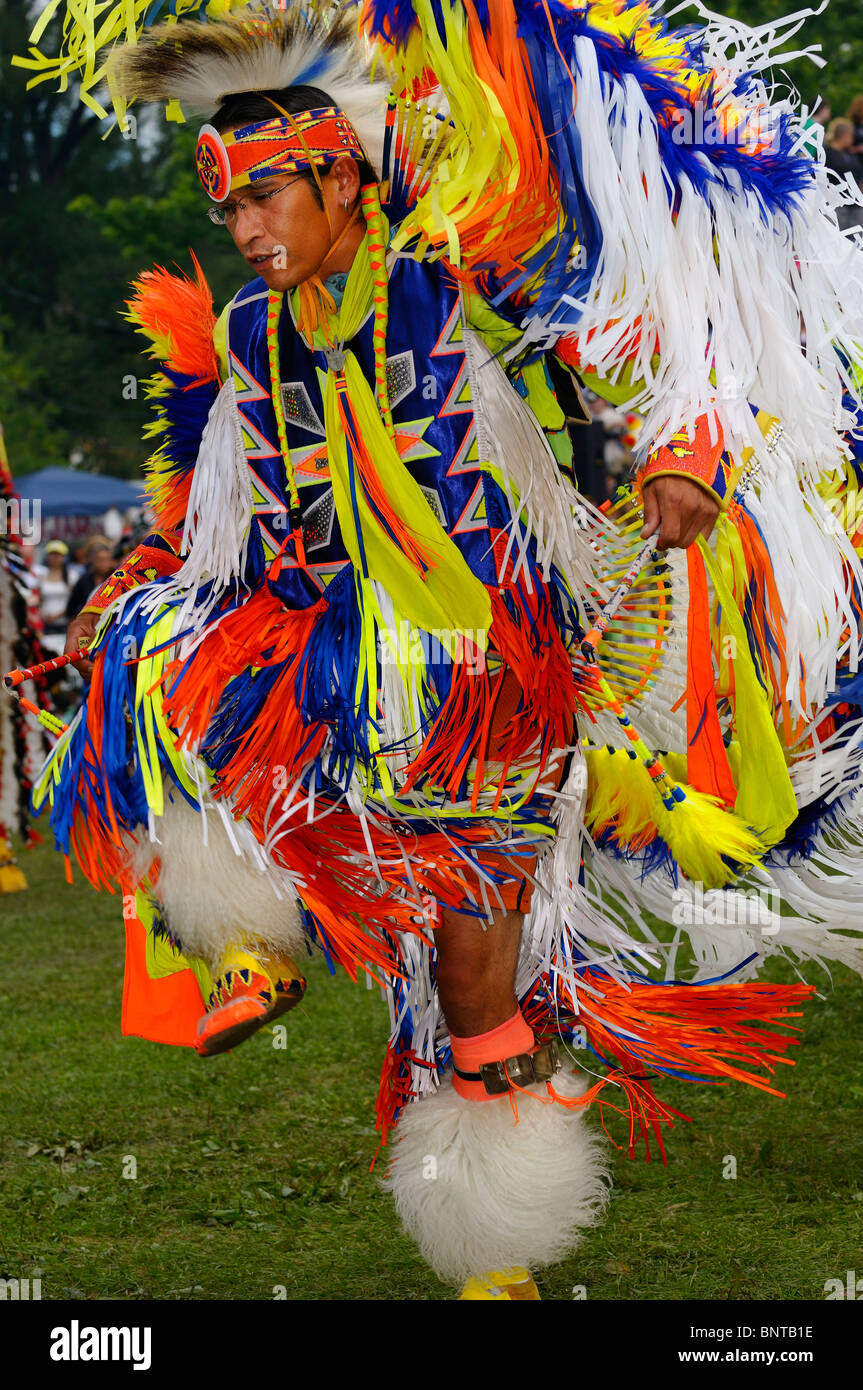 Native Indian Fancy Dancer at the Grand Entrance to Six Nations Reserve Pow Wow Grand River Ontario Canada - Stock Image