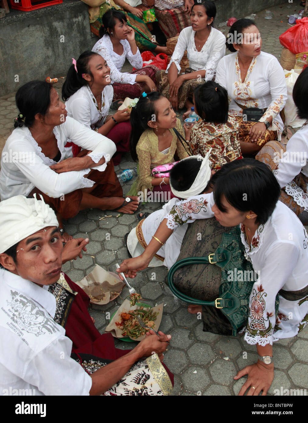 Indonesia Bali Mas Temple Festival Group Of People