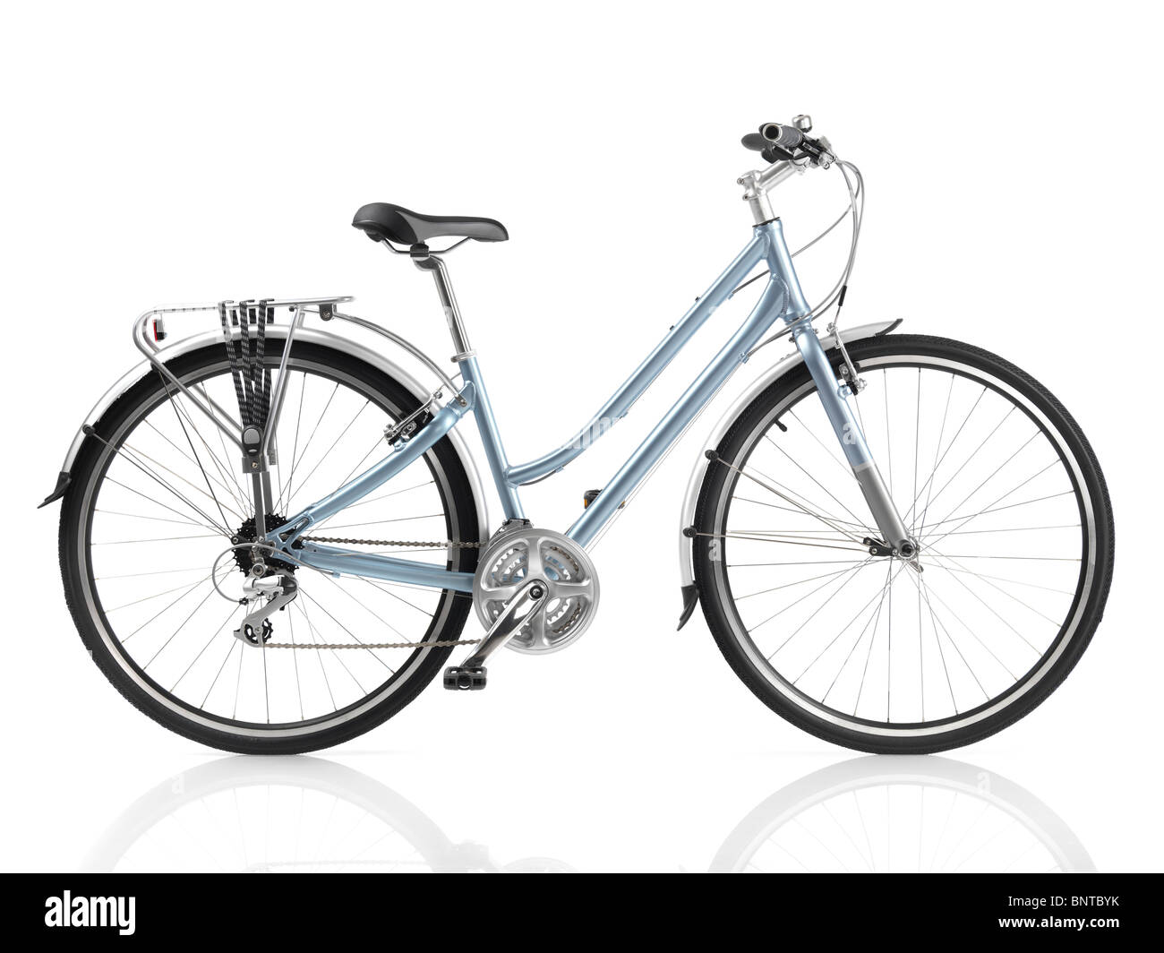 Classic style light blue womens bicycle isolated on white background - Stock Image