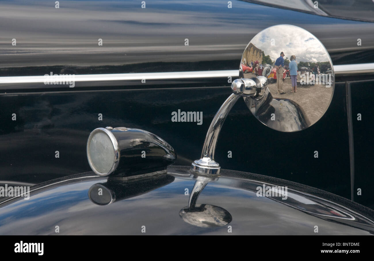 Side light and wing mirror on a Riley RMA motor car. - Stock Image