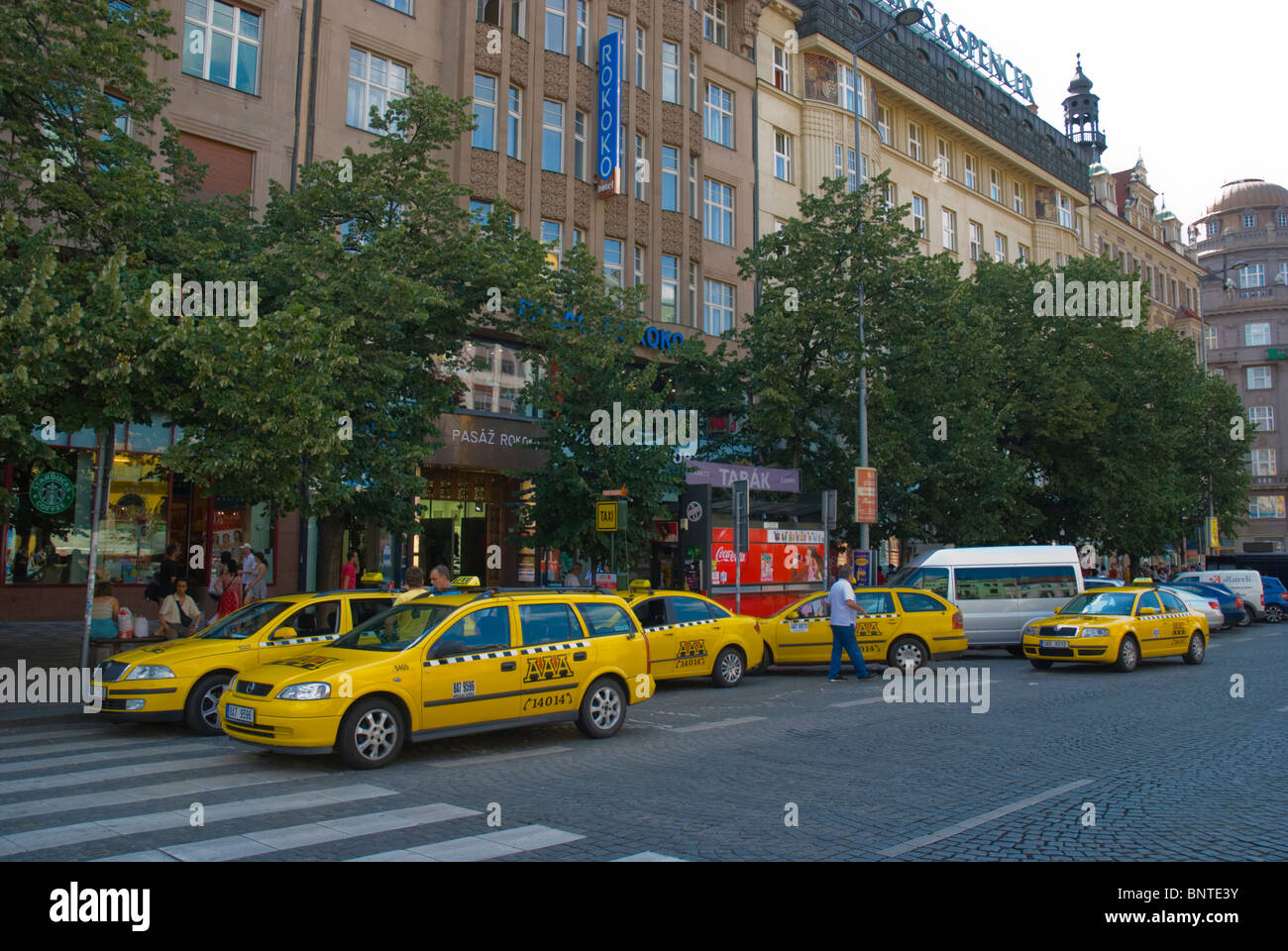 AAA taxis Vaclavske Namesti (Wenceslas) square Prague Czech Republic Europe Stock Photo