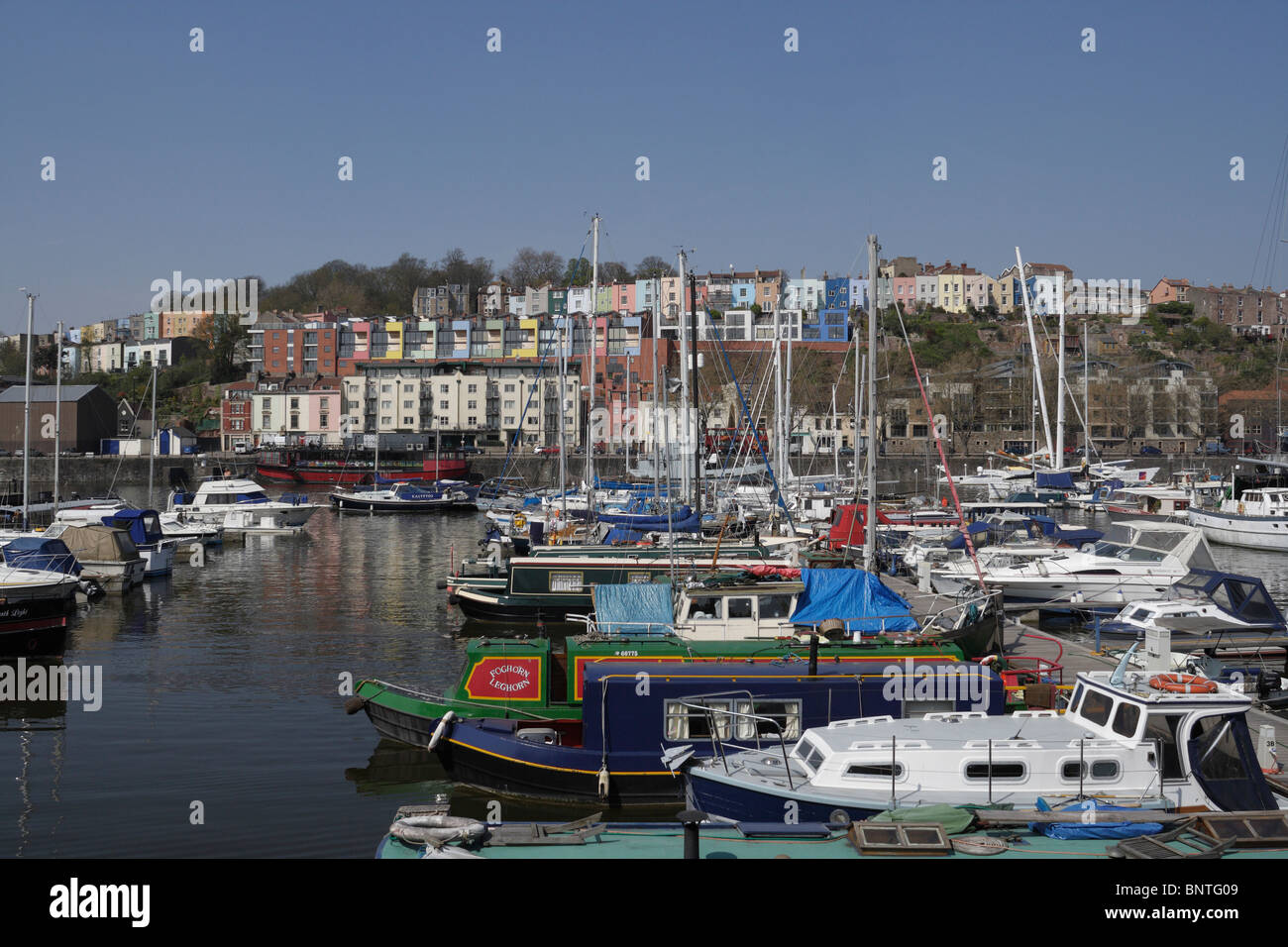 Bristol harbour looking towards Hotwell Rd from the Marina - Stock Image