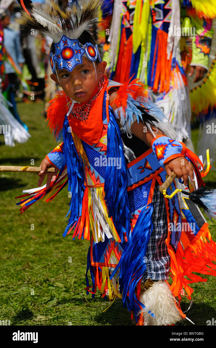 Young Native Indian boy Fancy Dancer at the Six Nations Reserve Pow Wow Grand River Ontario Canada - Stock Image