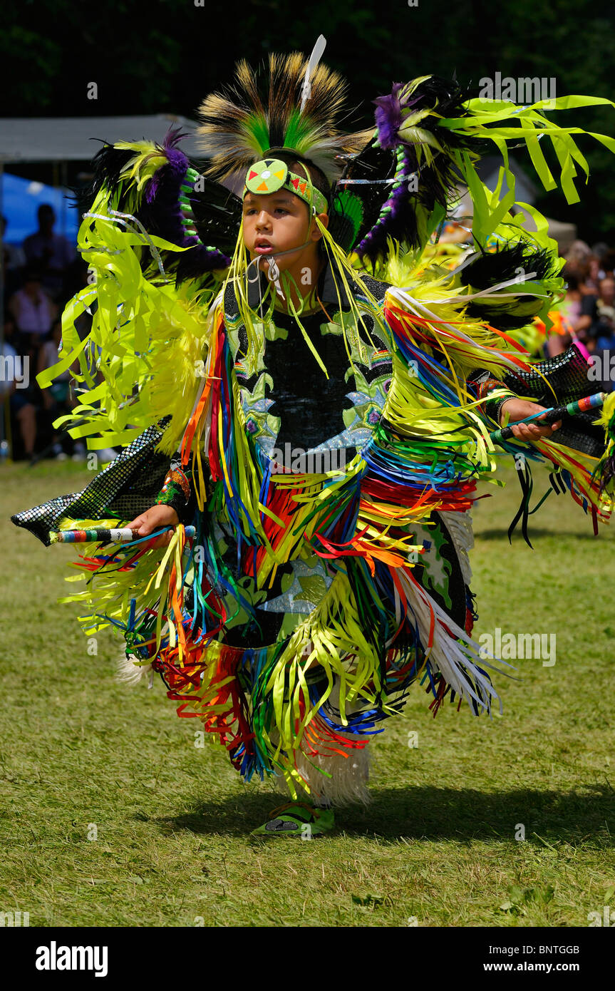 Young Native Indian Fancy Dancer dancing at the Six Nations Reserve Pow Wow Grand River Ontario Canada - Stock Image