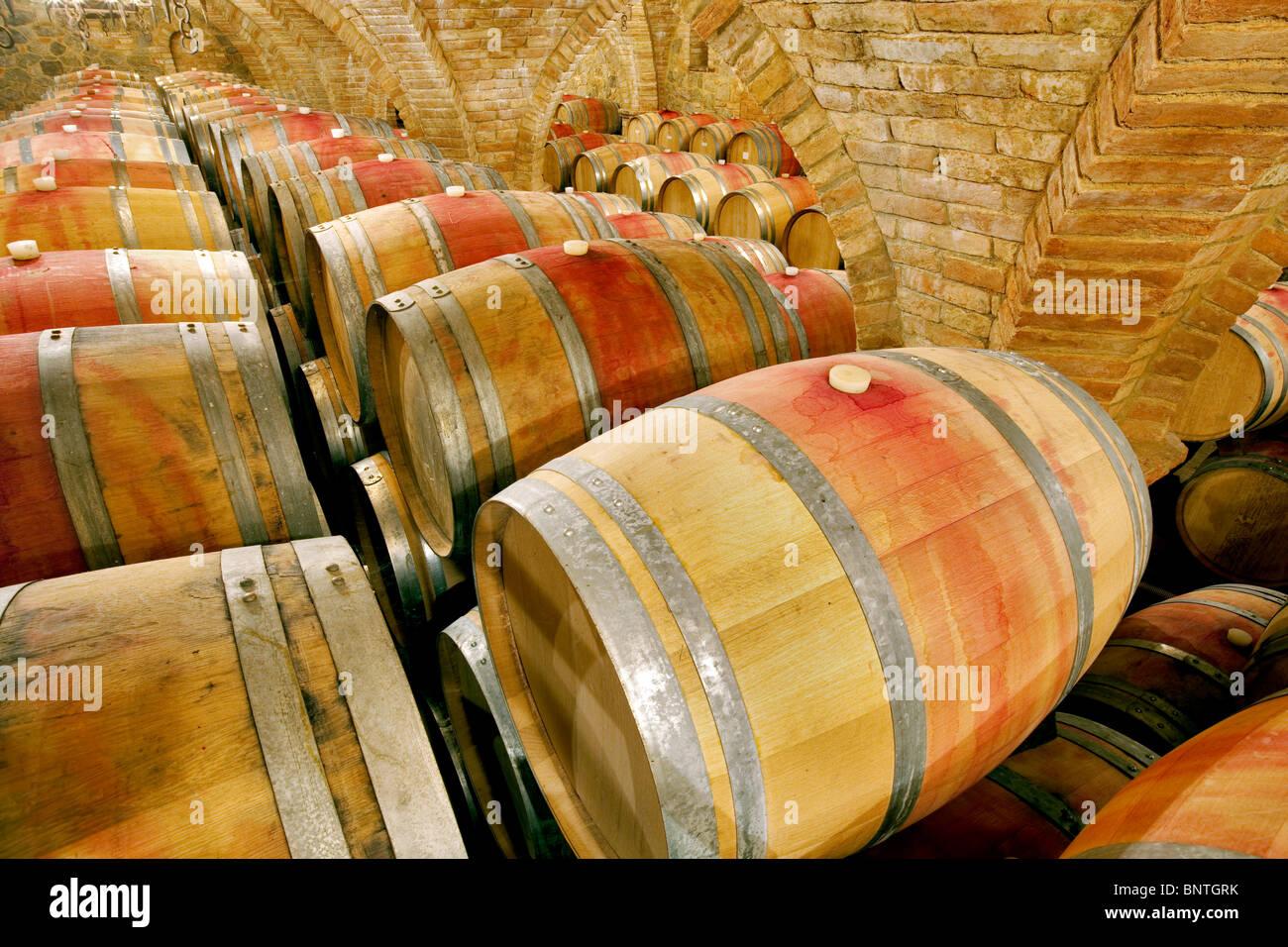 Wine aging in barrels in cellar. Castello di Amerorosa. Napa Valley, California. Property released - Stock Image