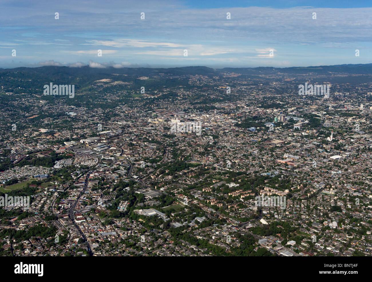 aerial view above San Salvador El Salvador central America Stock Photo