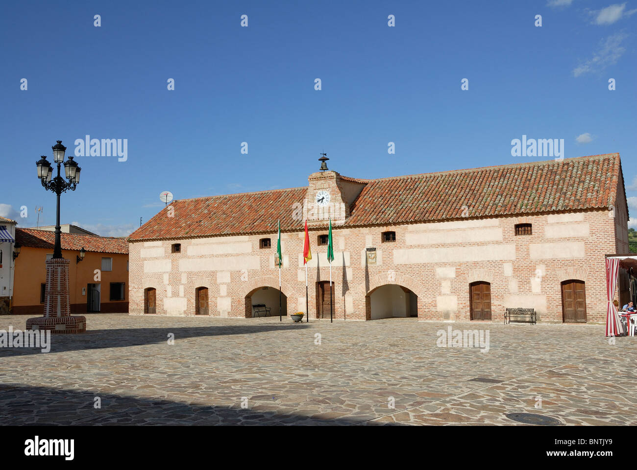 Aldeaquemada, Jaen, Andalucia, Spain White Village Pueblo blanco town hall Ayuntamiento village square Plaza - Stock Image