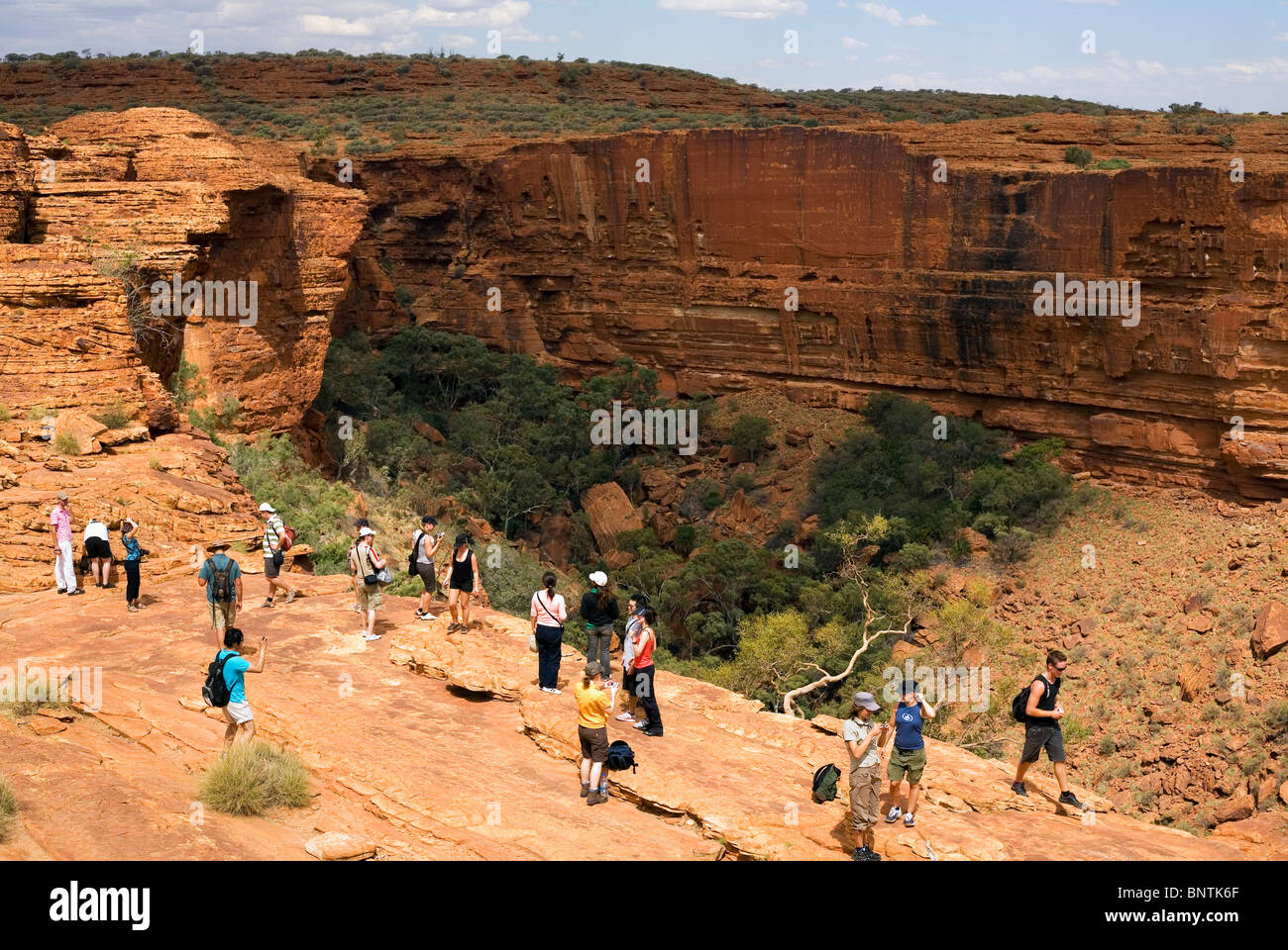 Tourists on the edge of the canyon. Watarrka (Kings Canyon) National Park, Northern Territory, AUSTRALIA. - Stock Image