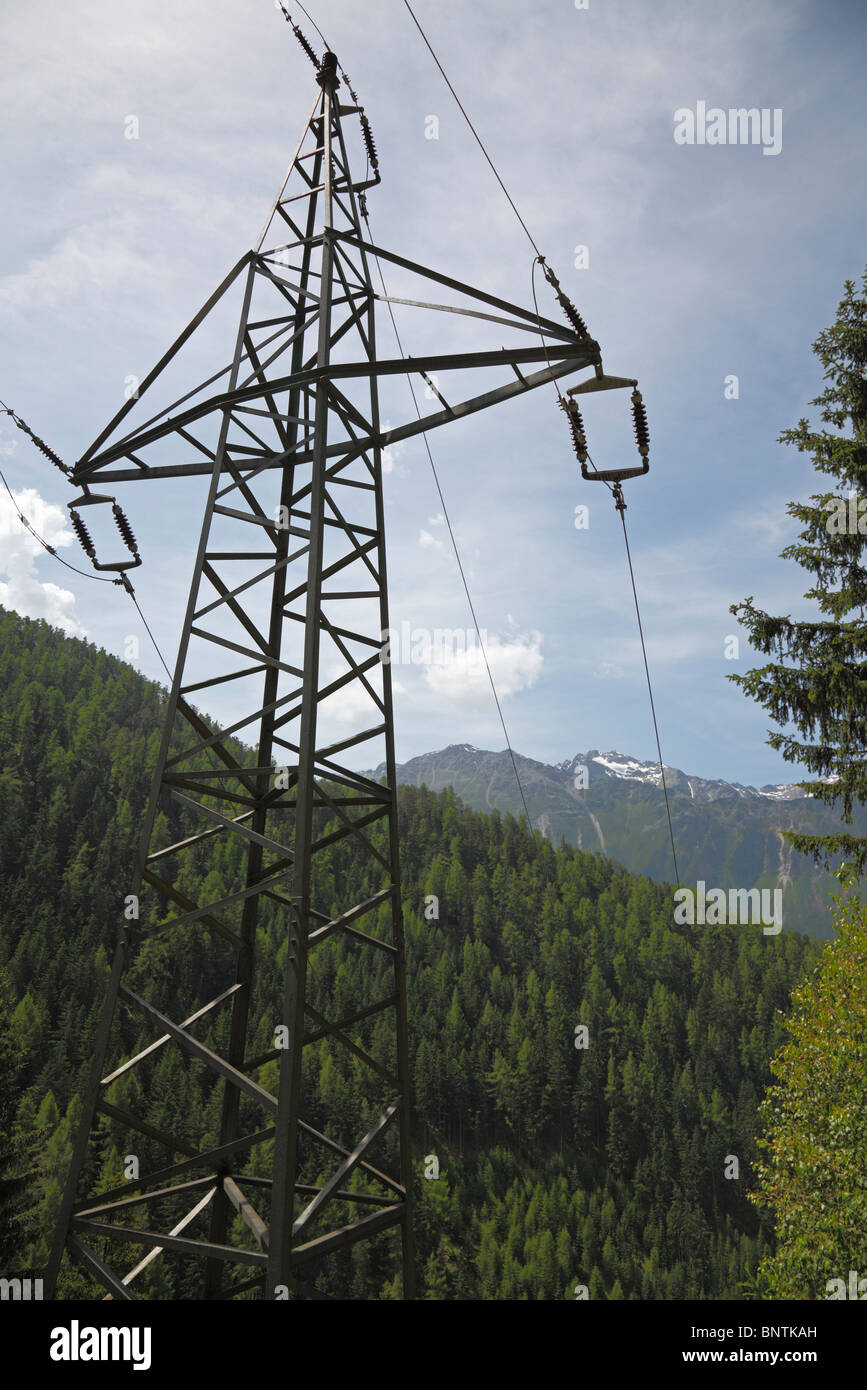 Power pylon in the mountains. - Stock Image