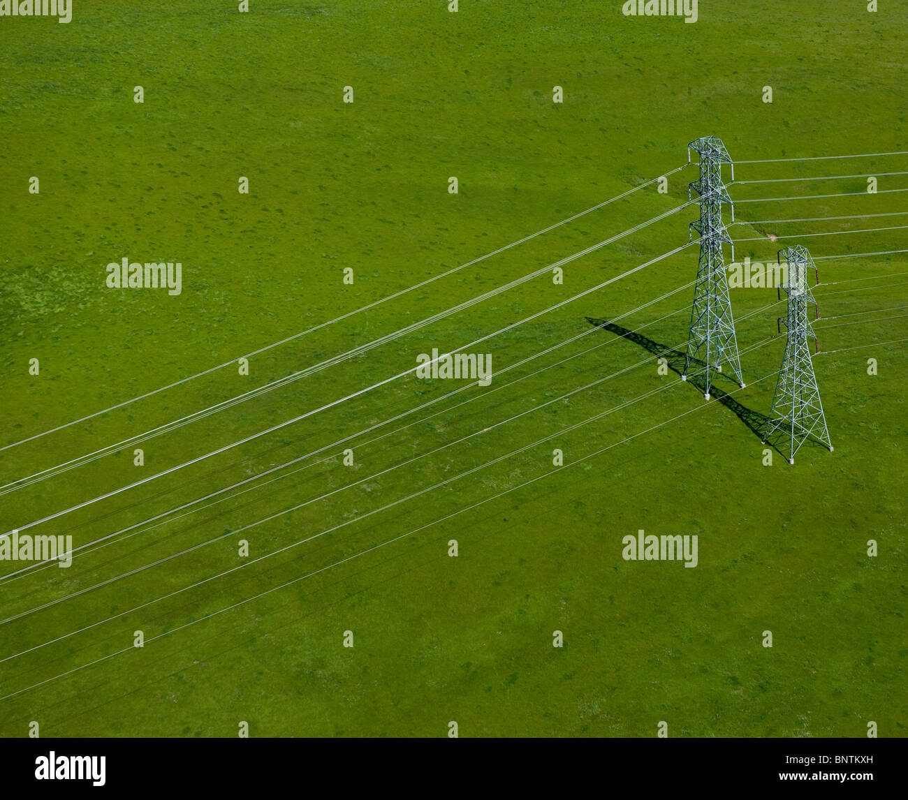 aerial view above electrical power transmission lines Sonoma county California Stock Photo