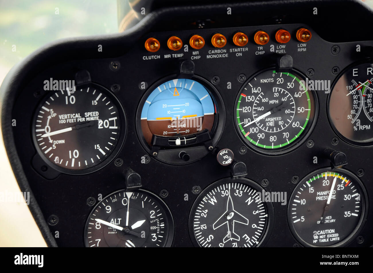 Robinson R44 helicopter cockpit controls dashboard - Stock Image