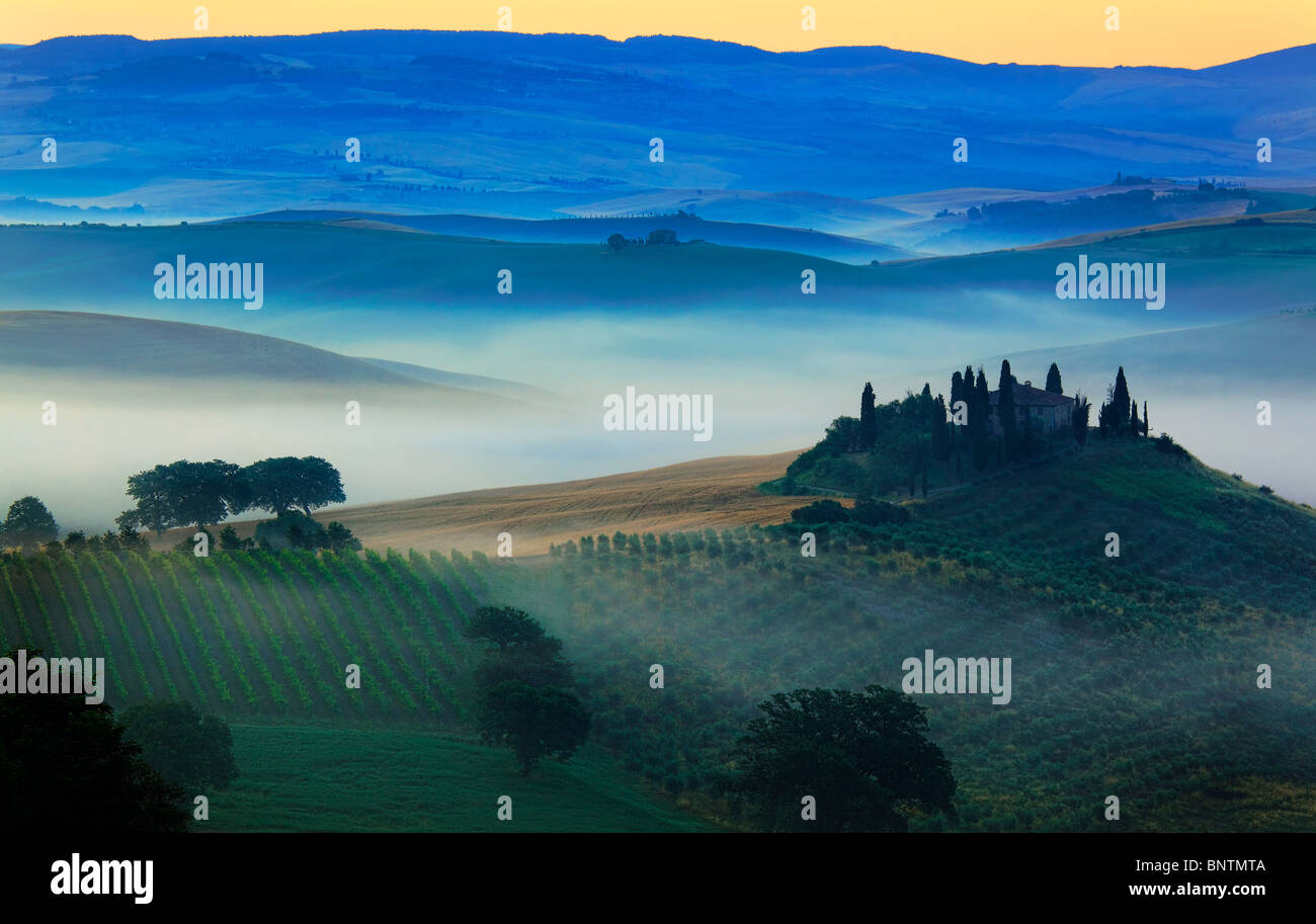 The Val d'Orcia, a region of Tuscany in central Italy, just before dawn. - Stock Image