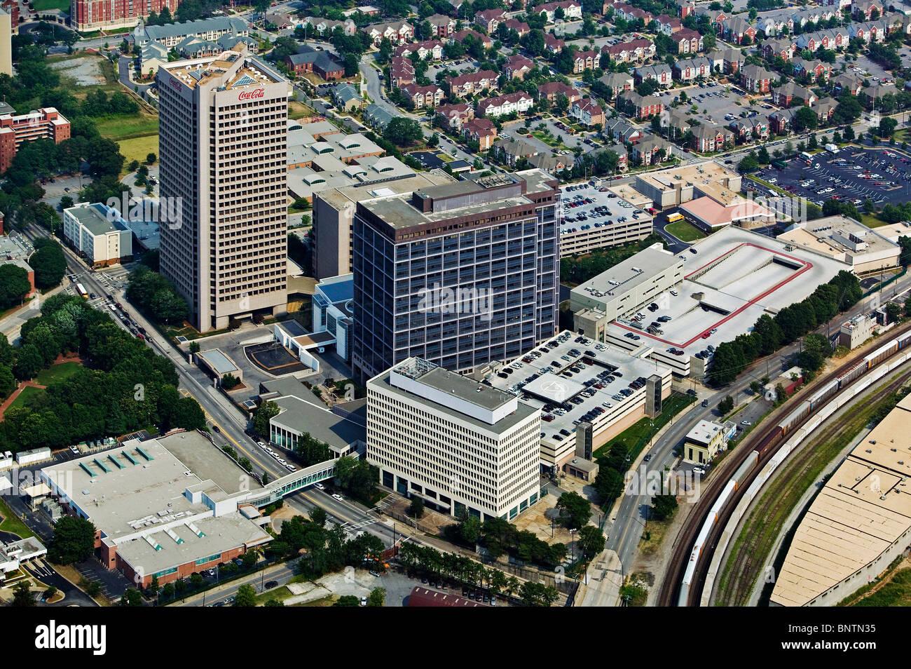 aerial view above Coca Cola corporate headquarters Atlanta Georgia - Stock Image