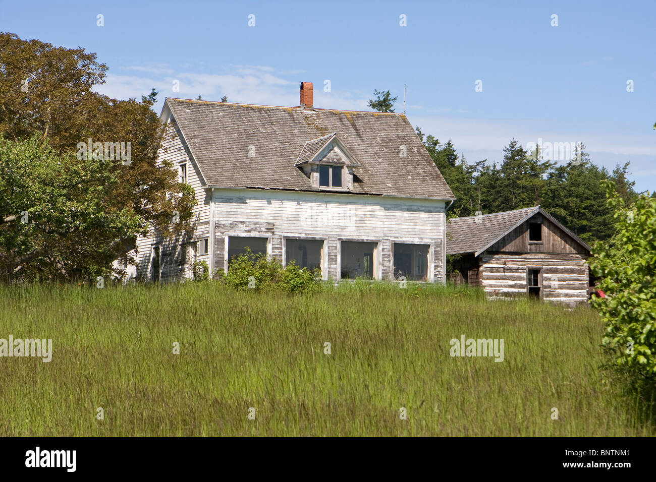 Old Farmhouse on Waldron Island - Stock Image