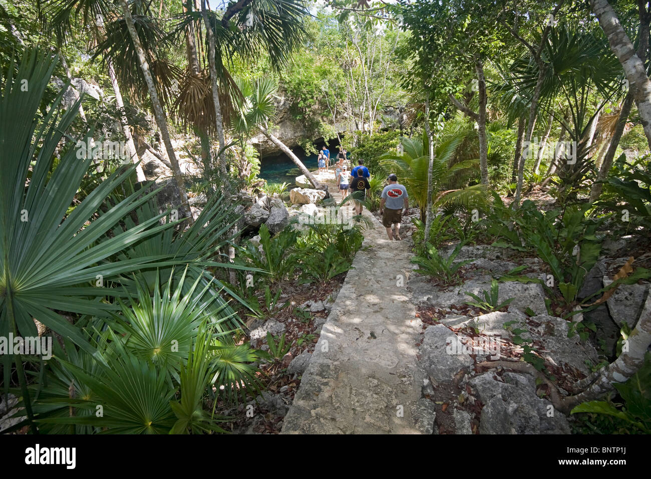 Path leading to Chac Mool, one of the cave systems on the Yucatan Peninsula of Mexico. - Stock Image