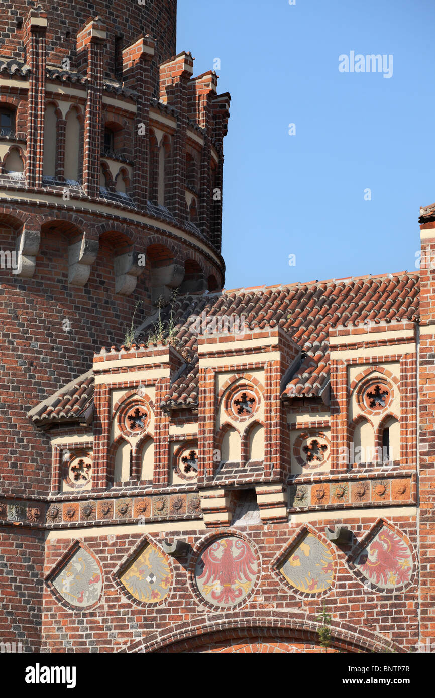 Part of the fortified wall that surrounds the historic town of Tangermünde situated on the river Elbe in  Germany, - Stock Image