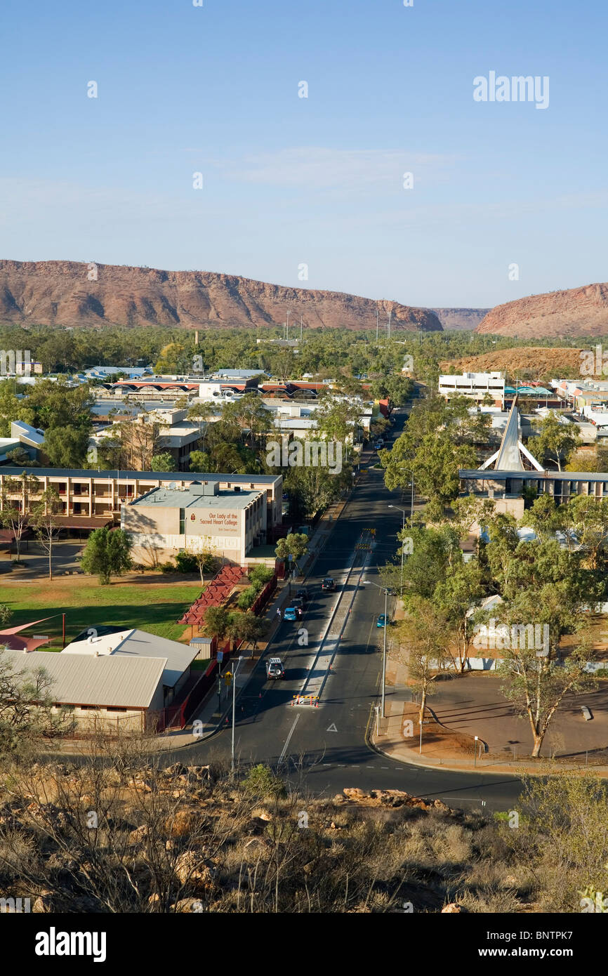View over the outback town of Alice Springs from Anzac Hill. Alice Springs, Northern Territory, AUSTRALIA. - Stock Image