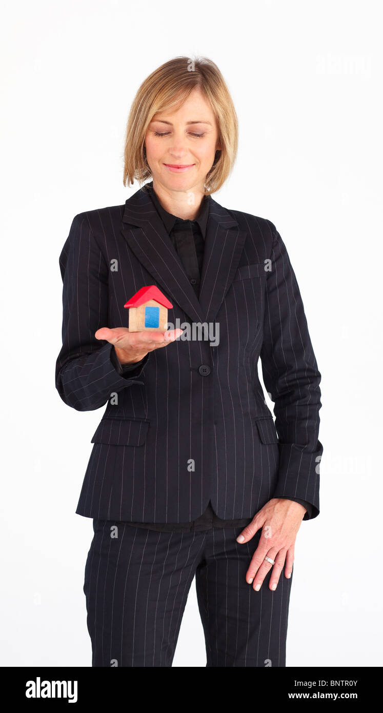 Mature woman working as a real state agent Stock Photo