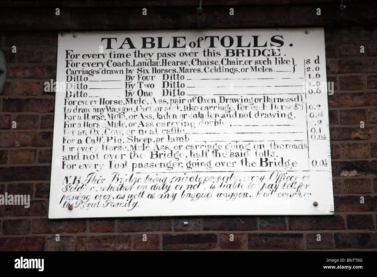 Table of Tolls; Sign on the toll house at the bridge; Ironbridge Gorge, Shropshire - Stock Image