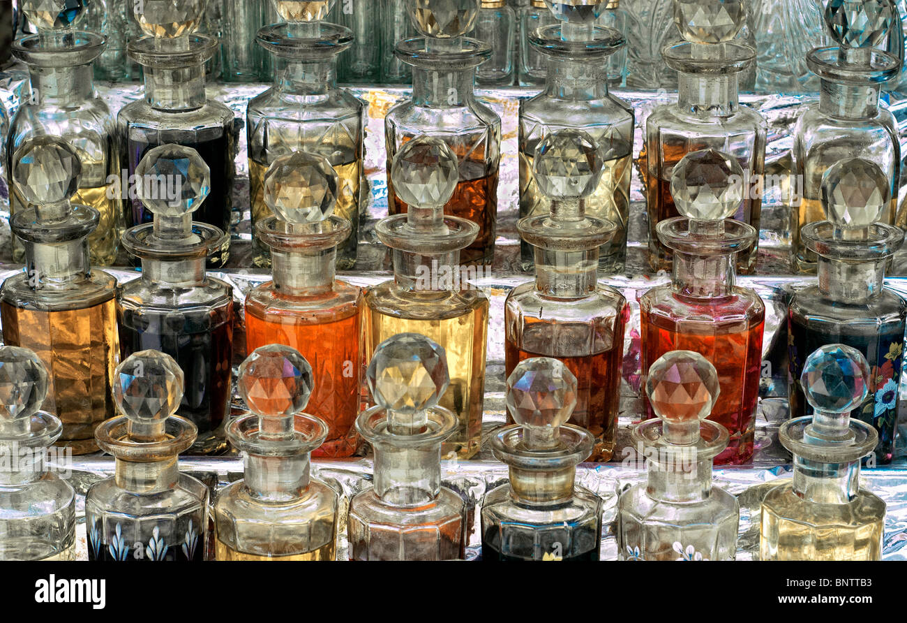 glass cruets containing essential oils Stock Photo