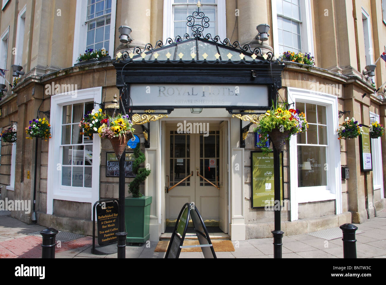 entrance to The Royal Hotel designed by Brunel, Bath UK - Stock Image