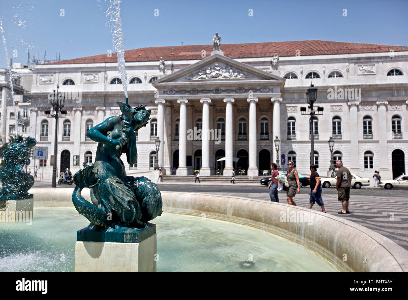 Teatro Nacional Dona Maria II and the fountain in front of it Stock Photo