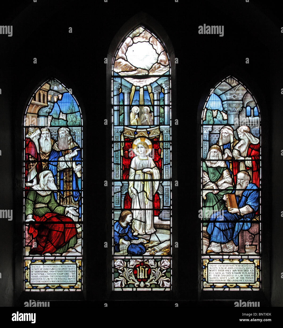 A Stained Glass Window depicting Jesus in the Temple as a twelve year old boy, St Margaret's Church, Ratlinghope, - Stock Image