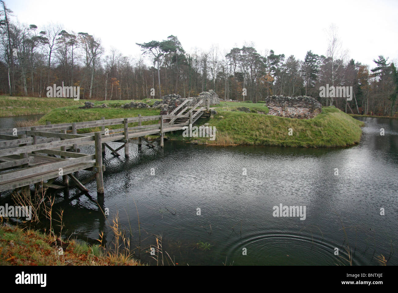 The ruins of Asserbo Monastery as seen from outside the moat, near Asserbo, Denmark. - Stock Image
