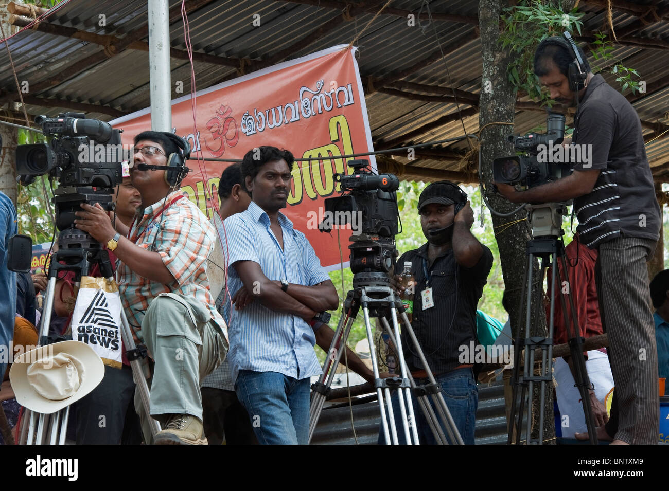 India Kerala Thrissur television shootings at the Pooram Elephant Festival - Stock Image