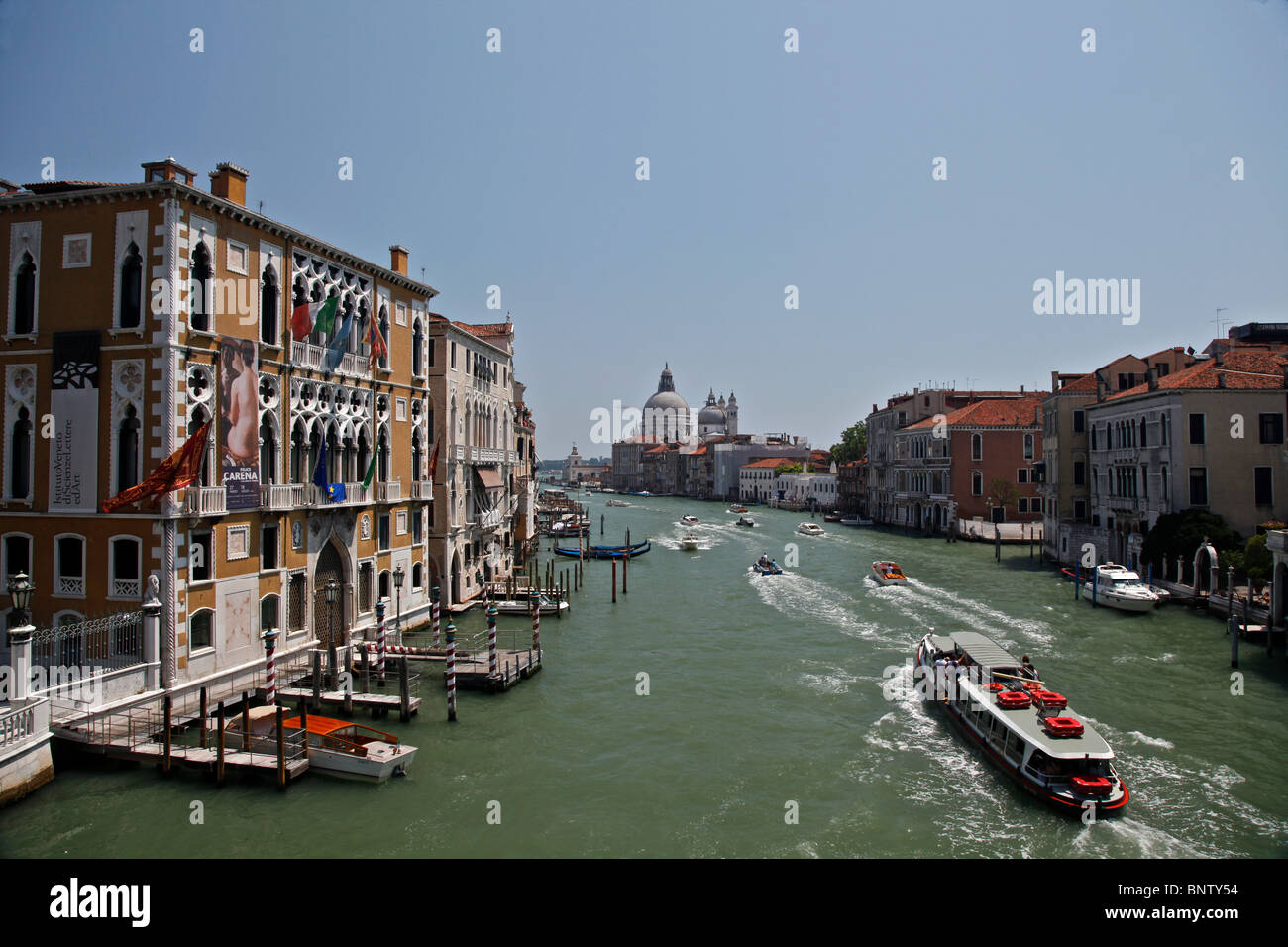 Grand Canal seen from Academia Bridge in bright daylight - Stock Image