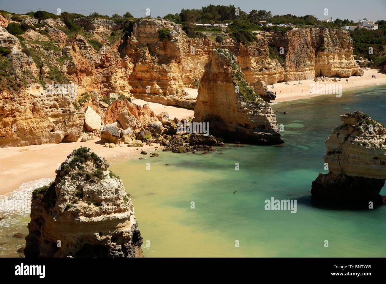 one of Algarves best beaches, Praia da Marinha near Carvoeiro in Portugal, Europe Stock Photo