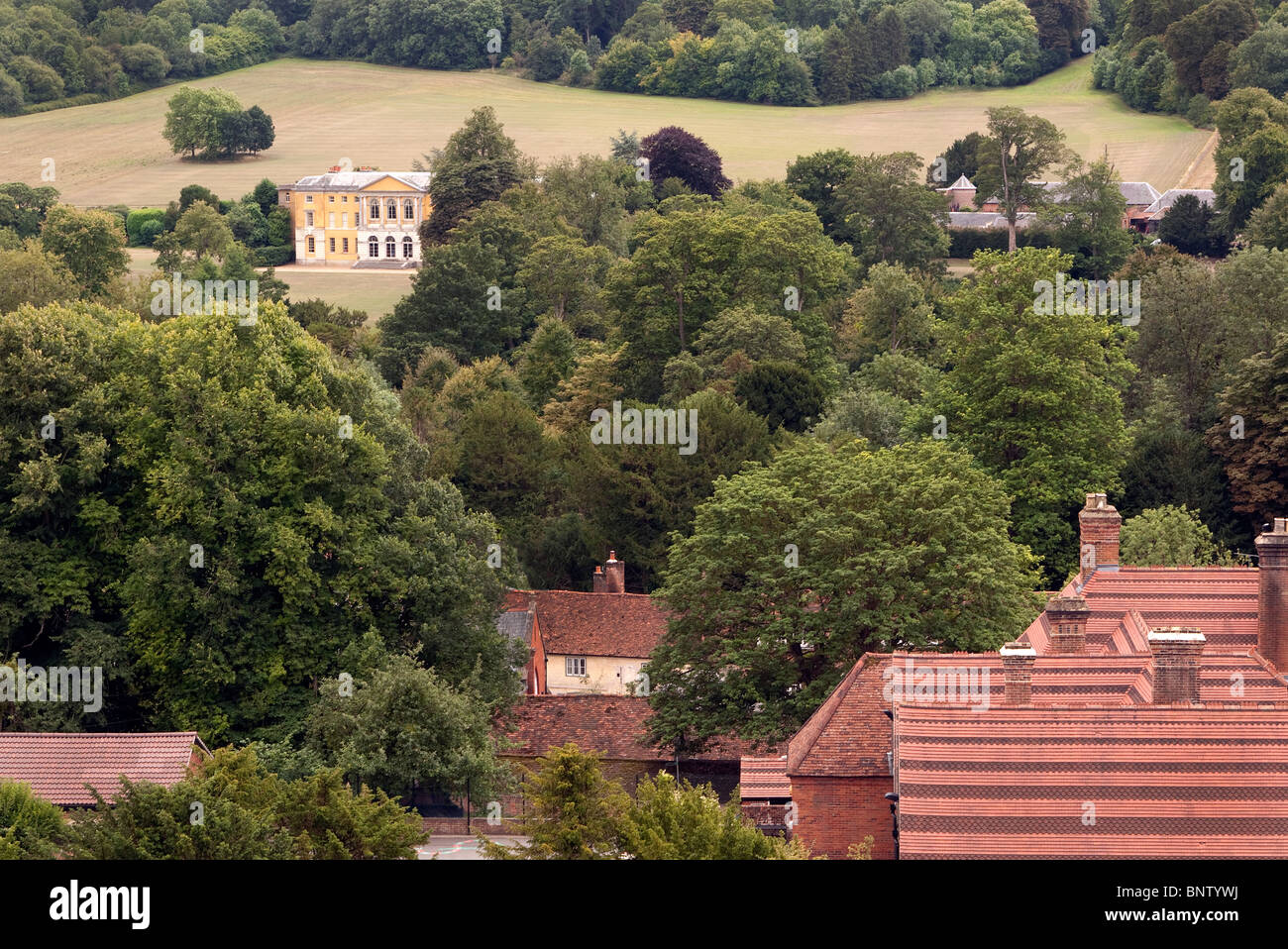 View of West Wycombe Park ( Yellow House in distance) - Stock Image