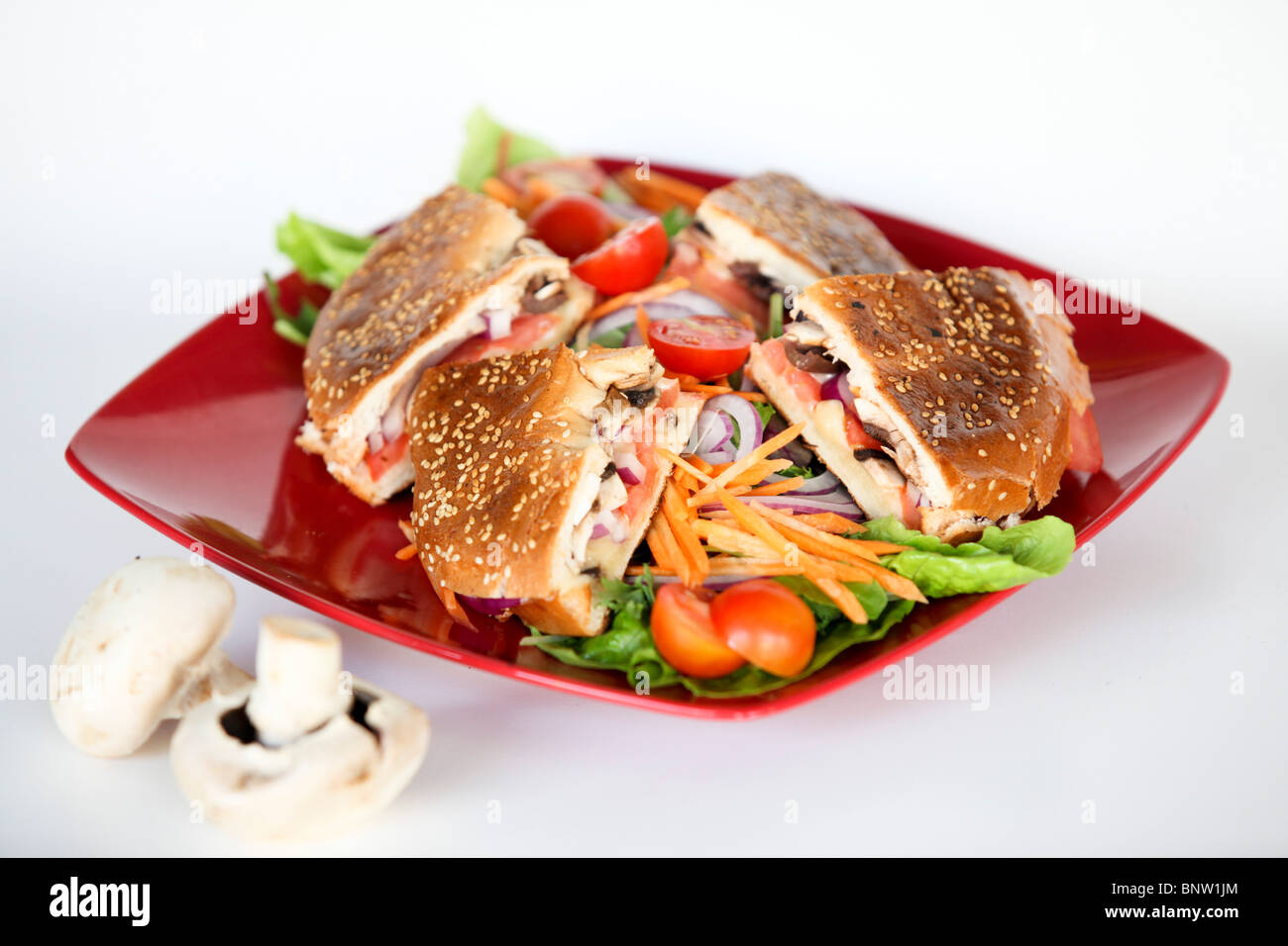 Toasted Cheese bagel sandwich with salad - Stock Image