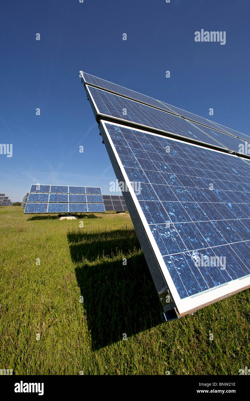 Solar panels mounted on so called movers which automatically direct the panels towards the sunshine, Germany - Stock Image