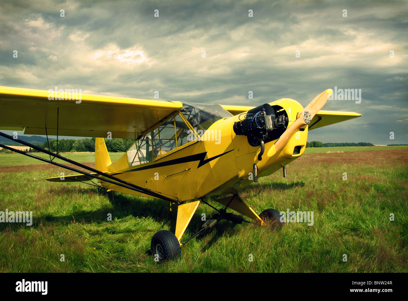 Vintage yellow plane - Stock Image