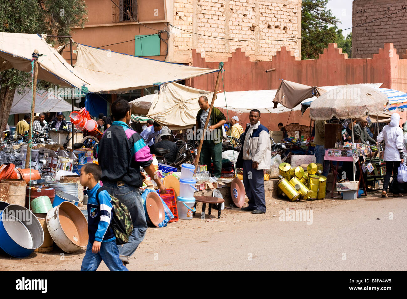 Villagers at the Friday market in the Ourika Valley in the Atlas Mountains near Marrakech in Morocco - Stock Image