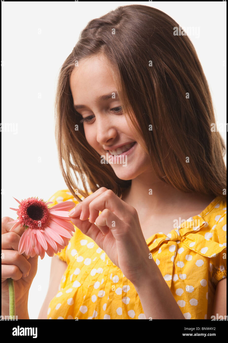 Teenage girl picking petals off of a flower - Stock Image