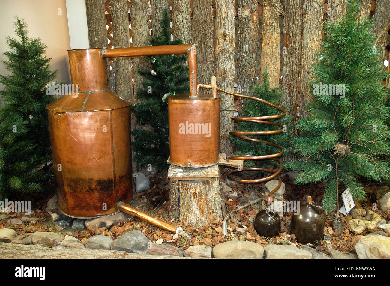 Moonshine still inside the McCreary County Museum, Stearns, Kentucky - Stock Image