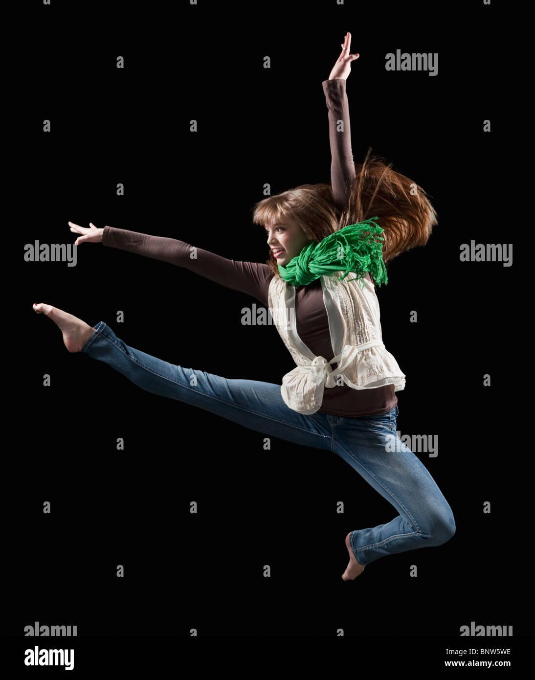 Female dancer performing lyrical dance Stock Photo