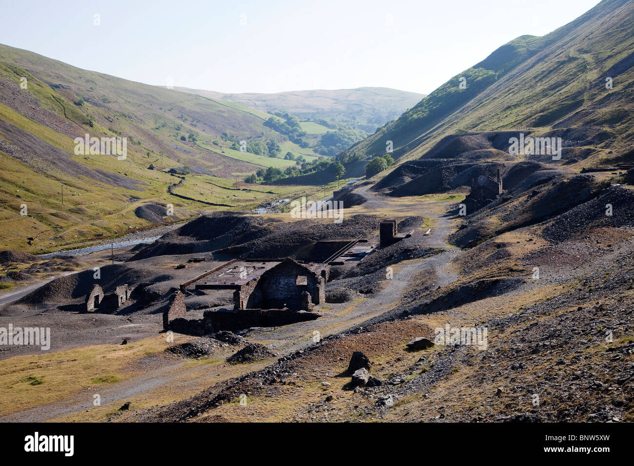 Mining remains at Cwmystwyth lead mines Ystwyth Valley Wales UK - Stock Image