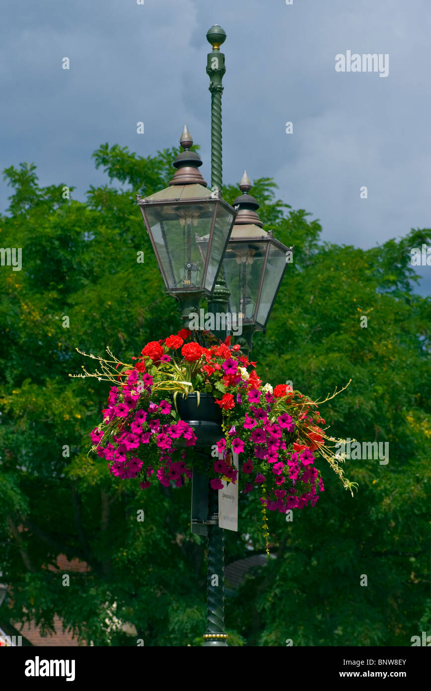 Ornate Street Lights With Hanging Baskets - Stock Image
