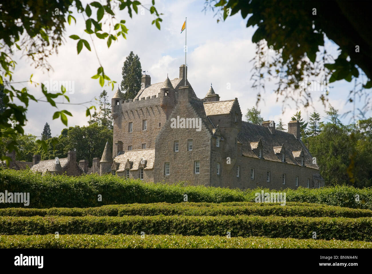 Cawdor Castle from the maze - 14th century home of the thanes of Cawdor - Nairn, Scotland - Stock Image