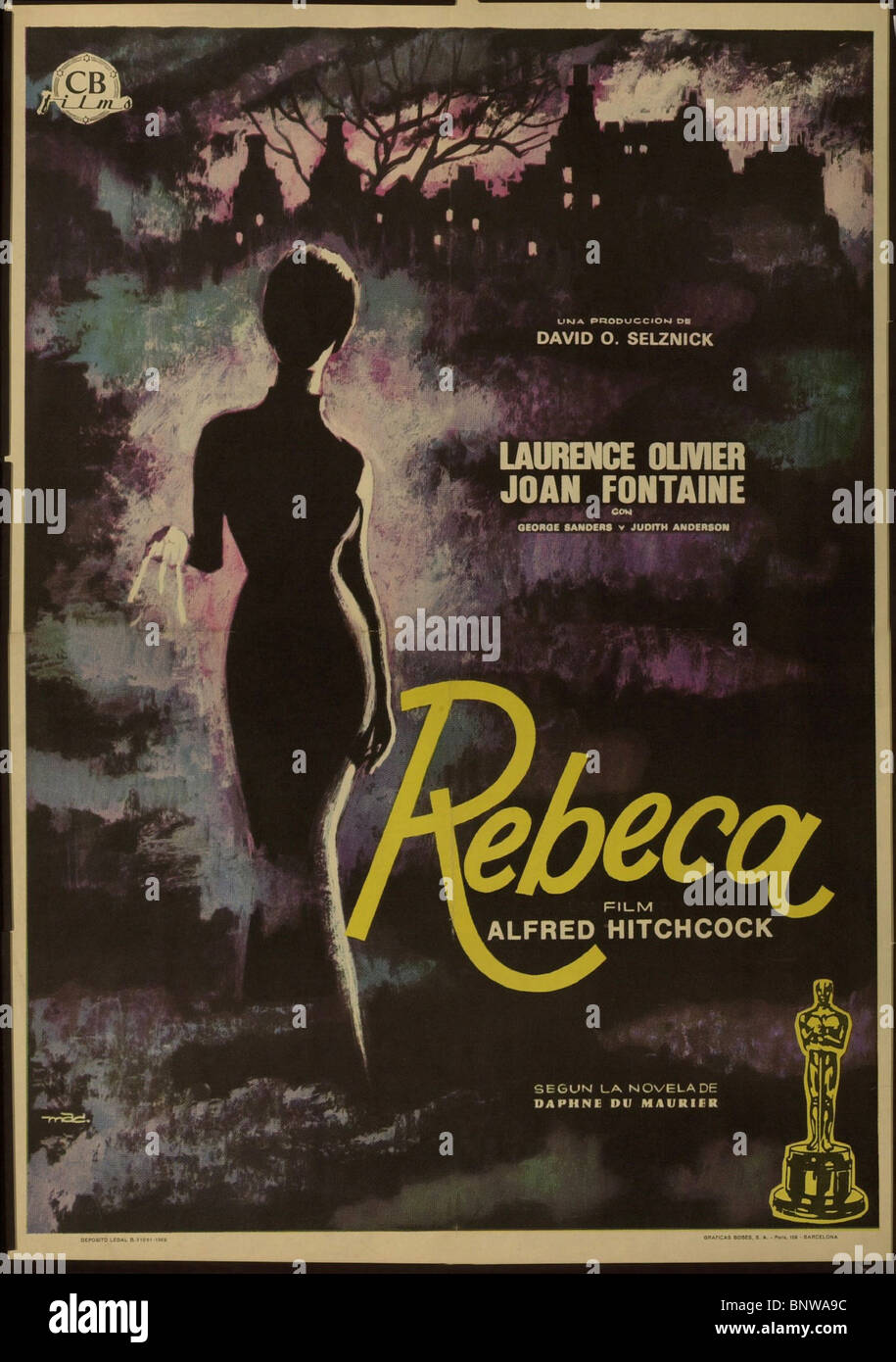 FILM POSTER REBECCA (1940) - Stock Image