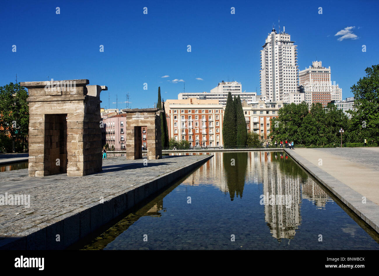 Temple of Debod, Parque del Oeste and Plaza de España, Madrid, Spain Stock Photo