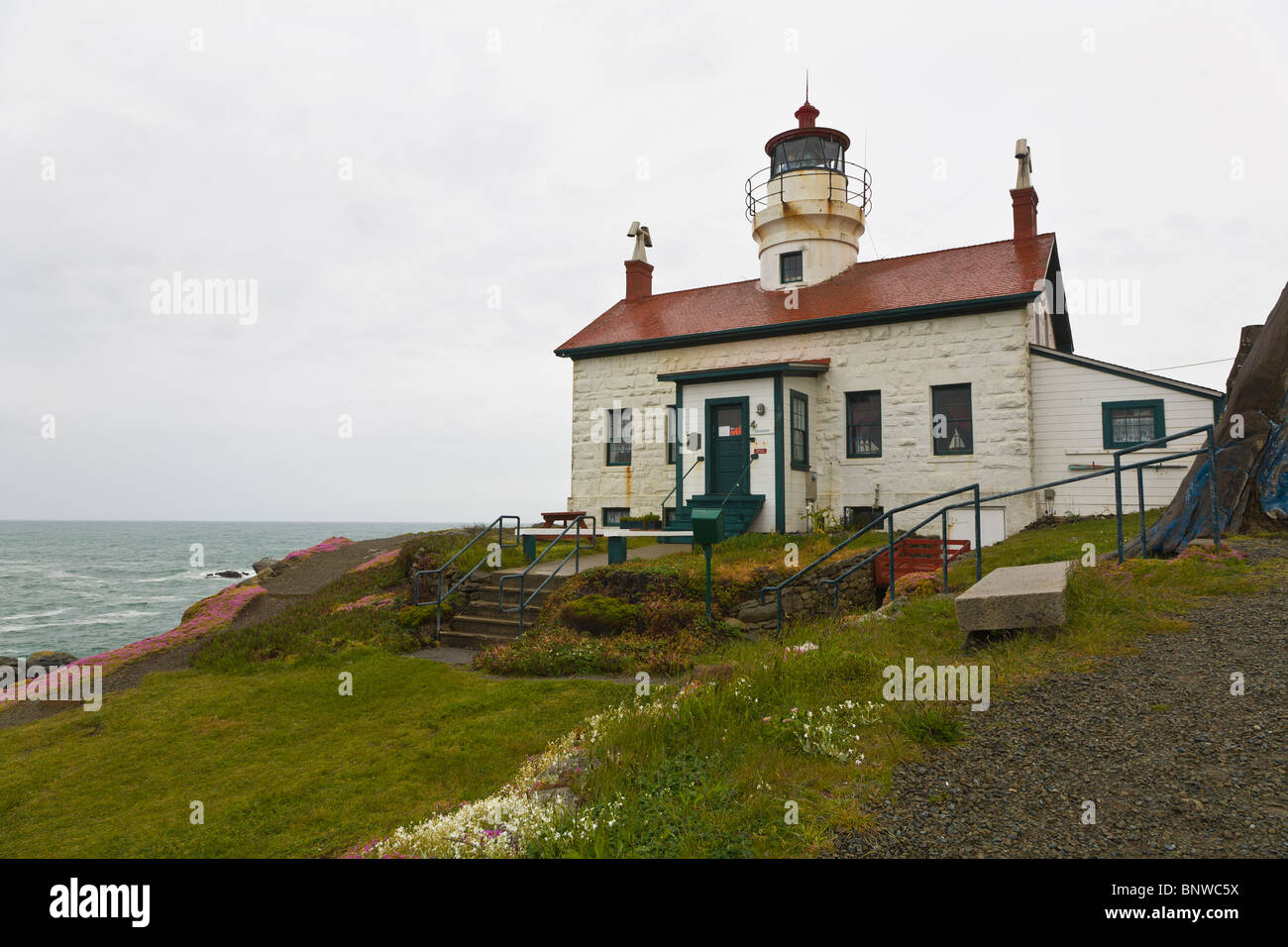 Battery Point Lighthouse on the Pacific Ocean northern California coast in Crecent City California Stock Photo