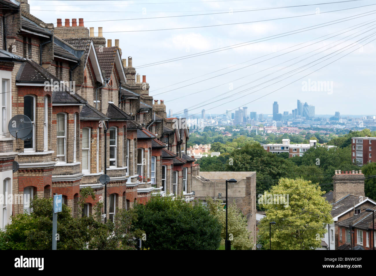 The City of London seen from Woodland Road in Crystal Palace, London - Stock Image